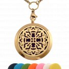 Essential Oil Diffuser Aromatherapy 24K Gold Plated Cross Pendant Necklace Locket