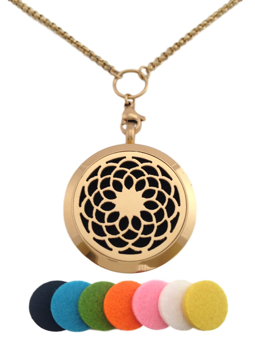 Essential Oil Diffuser Aromatherapy 24K Gold Plated Sunflower Pendant Necklace Locket