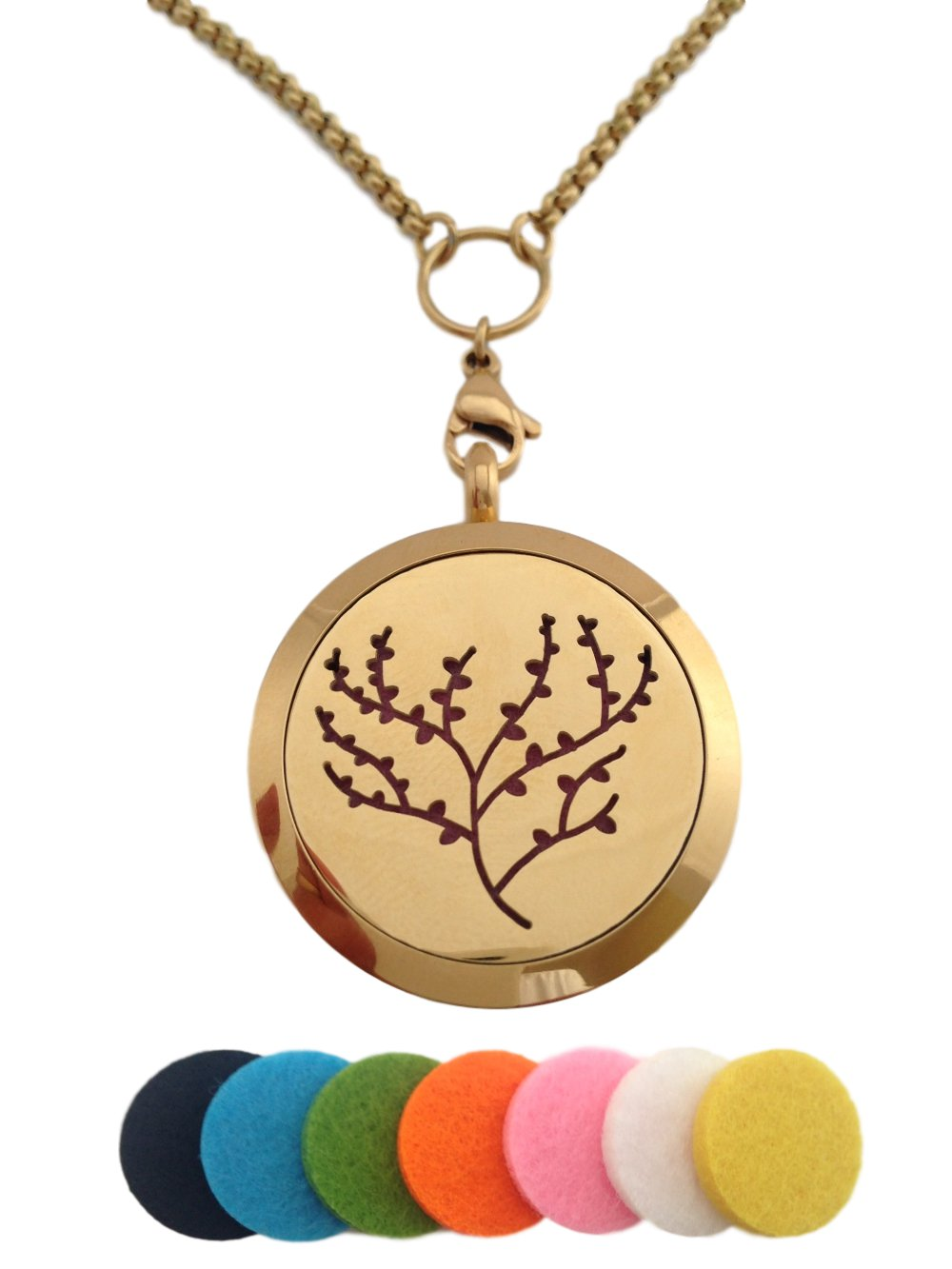 Essential Oil Diffuser Aromatherapy 24K Gold Plated Tree of Life Pendant Necklace Locket