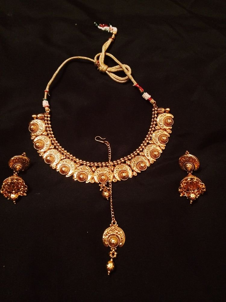 Brand New Indian Gold Antique Elegant Necklace With Jumka And Mang Tikka
