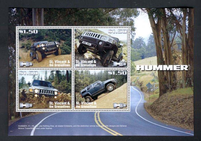 St. Vincent 2008 Hummer H1 H2 H3 souvenir sheet