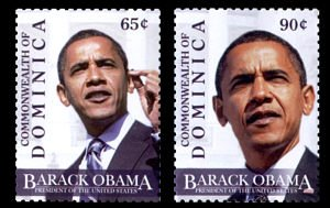 President Barack Obama set of 2 stamps from Dominica, mnh