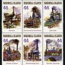 Steam Trains, Marshall Islands setenant block of 6 stamps, mnh