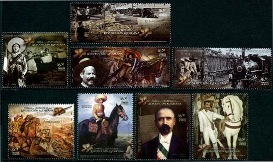 Mexican Revolution, set of 8 stamps, mnh