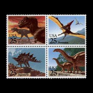 Prehistoric Animals, setenant block of 4, mnh