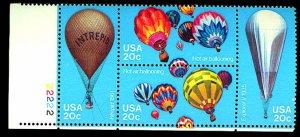 Hot Air Balloons plate block of 4, mnh