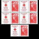 Aid to Haiti, France semi-postal stamp, mnh, block of 4 plus a single