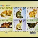 Ukraine Cats, sheetlet of 6 stamps, 2008 , MNH