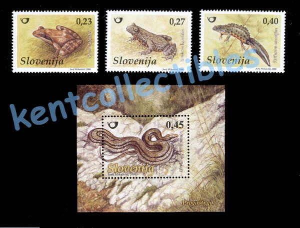 Slovenia Frogs, amphibians, 2008  issue, set of 3 stamps & SS, MNH \