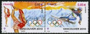 France Vancouver 2010 Olympics setenant pair, mnh