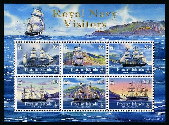 Royal Navy Ships, Pitcairn Islands, sheet of 6 stamps