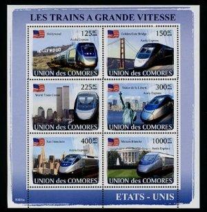 Comoros Acela Trains minisheet of 6 stamps,  MNH