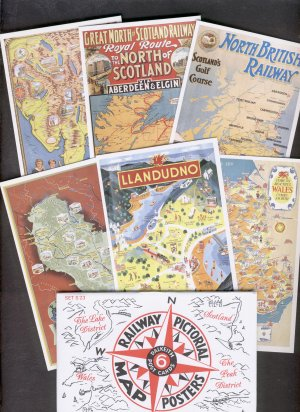 Railway Map Posters set of 6 Dalkeith Postcards