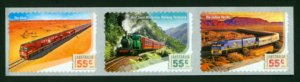 Great Railway Journeys, Australia strip of 3 stamps, mint self-adhesive