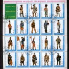 Ajman State Military Uniforms, sheet of 19 plus label