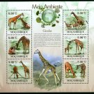 Giraffes Mozambique mini sheet 6 stamps 2010 mnh