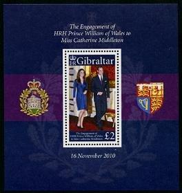Royal Wedding William & Kate Gibraltar souvenir sheet