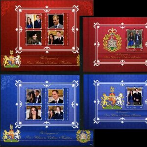 William & Kate Royal Wedding St. Kitts 2 mini sheets + 2 souvenir sheets