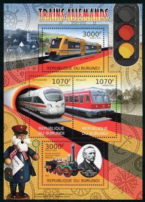 German Trains souvenir sheet + mini sheet, mnh