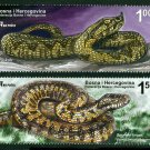 Snakes set of 2 large stamps 2012 mnh Bosnia & Herzegovina