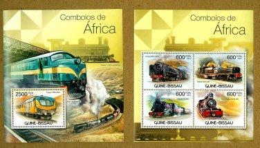 African Trains souvenir sheet + mini sheet, mnh