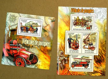 Antique Fire Engines souvenir sheet + mini sheet, mnh