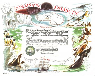 Domain of the Antarctic Certificate unused mint, from the US Naval Institute