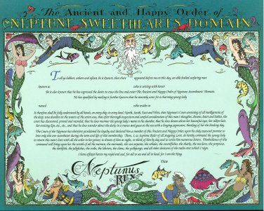 Neptune Sweethearts Domain Certificate unused mint, from the US Naval Institute