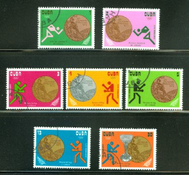 Cuba 1972 Olympics, Munich, Cuban medal winners,set of 7 stamps, CTO