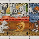 Puppies mini sheet of 6 mnh stamps 1996 Gibraltar
