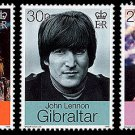 John Lennon set of 3 mnh stamps 1999 Gibraltar Beatles