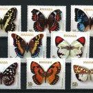 Butterflies mnh set of 8 stamps 1979 Rwanda #905-12 CV $15.05