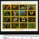 Butterflies mini sheet of 16 small stamps Imperf Umm Al Qiwain