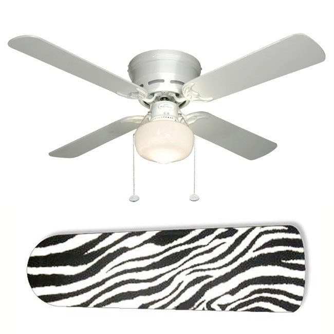 Black and White Zebra Ceiling Fan w/Light Kit or Blades Only or Ceiling Lamp