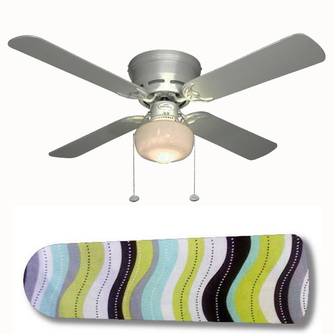 Black White Aqua Green Gray Wavy Fan w/Light Kit or Blades Only or Ceiling Lamp