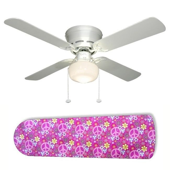 Girls Pink Peace Sign Ceiling Fan w/light kit or blades only or ceiling lamp