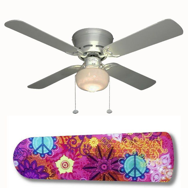 Peace Sign Batik Ceiling Fan w/light or blades only or ceiling lamp