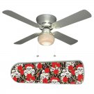 Skulls and Roses Goth Ceiling Fan w/Light Kit or Blades Only or Ceiling Lamp