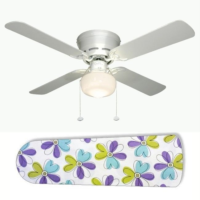 Blue Green Purple Flowers Ceiling Fan w/light or blades only or ceiling lamp