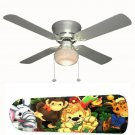 Zootles Zoo Animals Nursery Ceiling Fan w/Light Kit or Blades Only