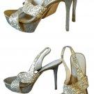 Sequins Gold Platform Heels