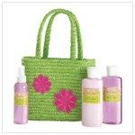 Bath Set In Green Tote Bag   36376