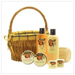 Orange Bath Set in Willow Basket   38051