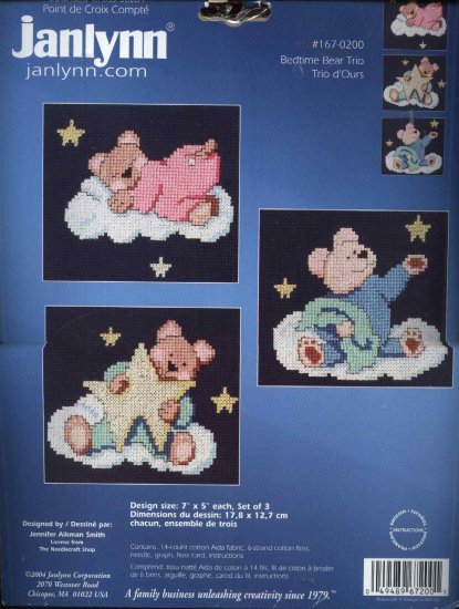 "Janlynn 167-0200 ""Bedtime Bear Trio"" Counted Cross Stitch Kit"