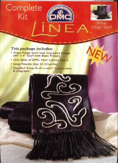 "Linea Craft Kit Embroidered Wine Fringe Scarf - 60"" x 4"""