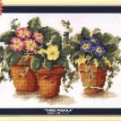 DMC Needlepoint Canvas Pattern &quot;Three Primula&quot; Flowers Pearl cotton Tapestry wool embroidery floss