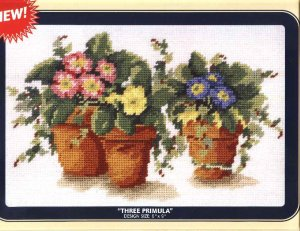"DMC Needlepoint Canvas Pattern ""Three Primula"" Flowers Pearl cotton Tapestry wool embroidery floss"