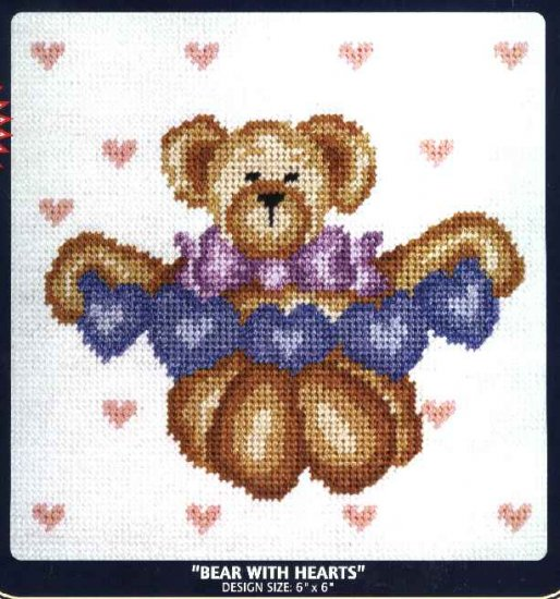 "DMC Needlepoint Canvas Pattern ""Bear with Hearts"" Pearl cotton Tapestry wool embroidery floss"