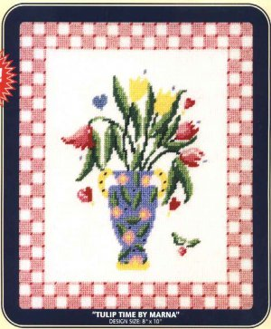 "DMC Needlepoint Canvas Pattern ""Tulip Time by Marna"" Pearl cotton Tapestry wool embroidery floss"