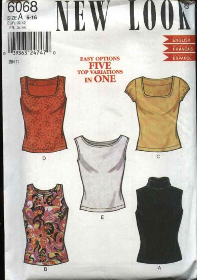 New Look Pattern 6068 Size 6-16 Five Pullover Knit Top variations